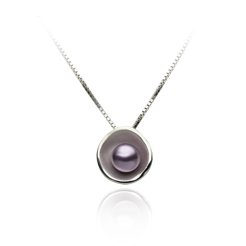 Necklacesilver 925/000rhodium platedglass pearls Swarovskifi 6 mm - 1 x