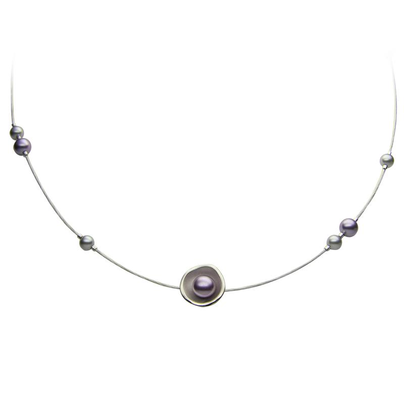 Necklacesilver 925/000rhodium platedglass pearls Swarovskifi 6 mm - 1 x, fi 5-6 mm - 10 x