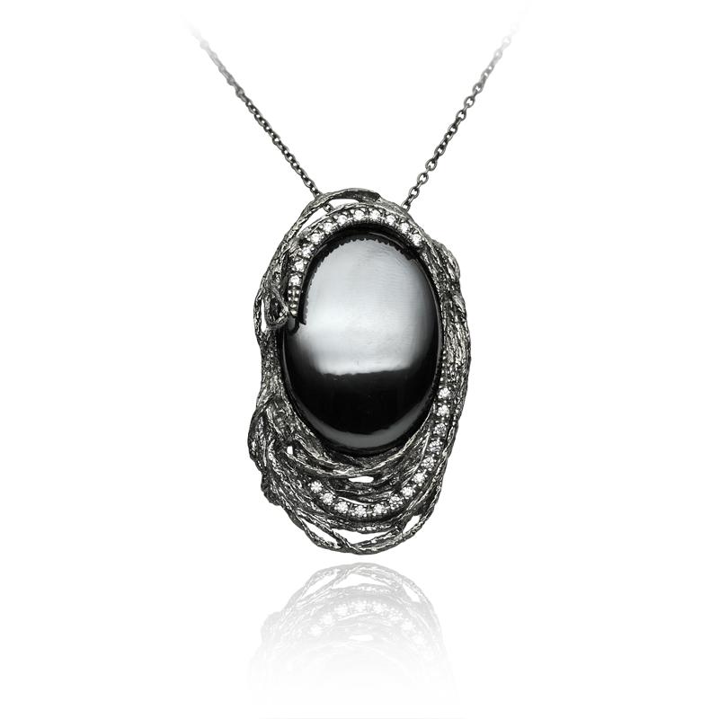 Necklace silver 925/000 black rhodium platedhematite - 1xzircon 1,50 mm - 24x