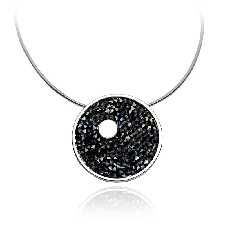 Ogrlica srebro 925/000rodiniranoFolija sa Swarovski kristali