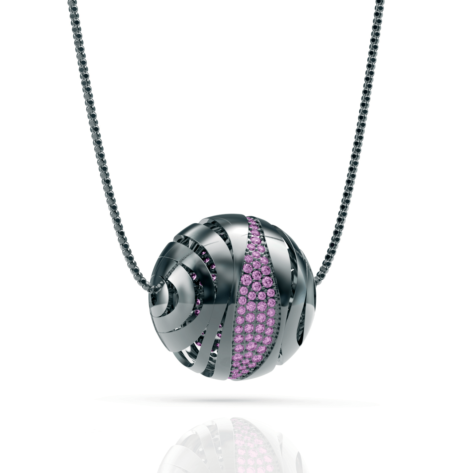 Necklace silver 925/000 black rhodium platedCZ purple fi 1,5 mm - 48x; 1,75 mm- 39 x; 2 mm- 18 x