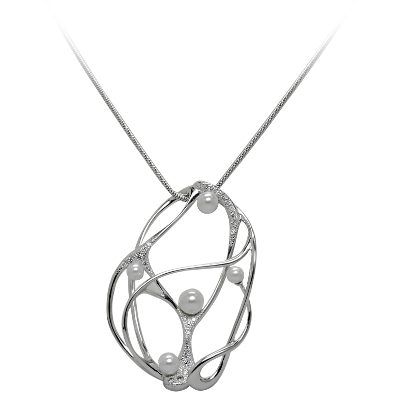 Necklacesilver 925/000rhodium platedCZ 1,25 mm - 13 x; 1,5 mm - 7 x; 1,75 mm - 4 xPearl glass Swarovski 5 mm- 2 x; 6 mm- 1 x