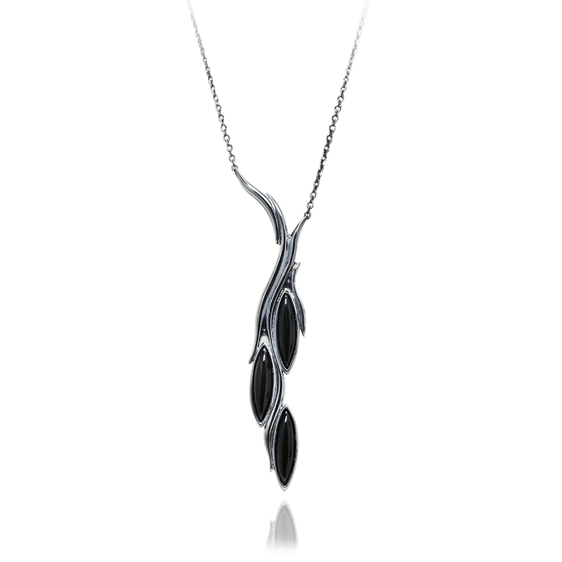 Ogrlicasrebro 925/000črno rodiniranooniks 20x5 mm - 3x