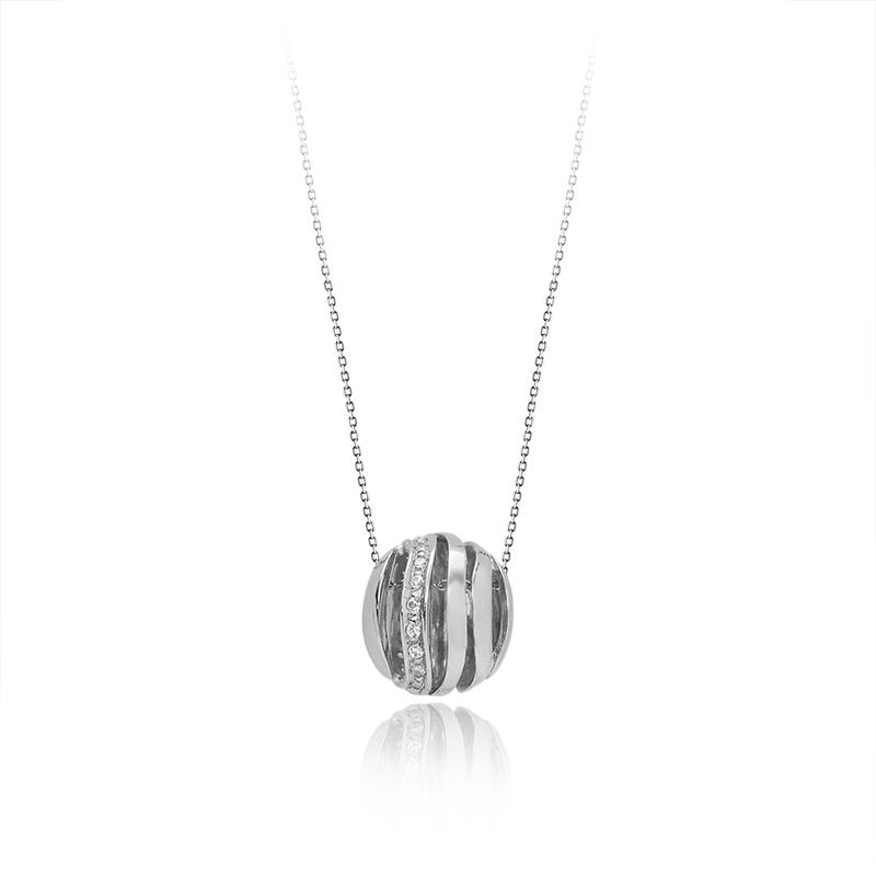 Necklacesilver 925/000rhodium platedCZ fi 1,25 - 19 x