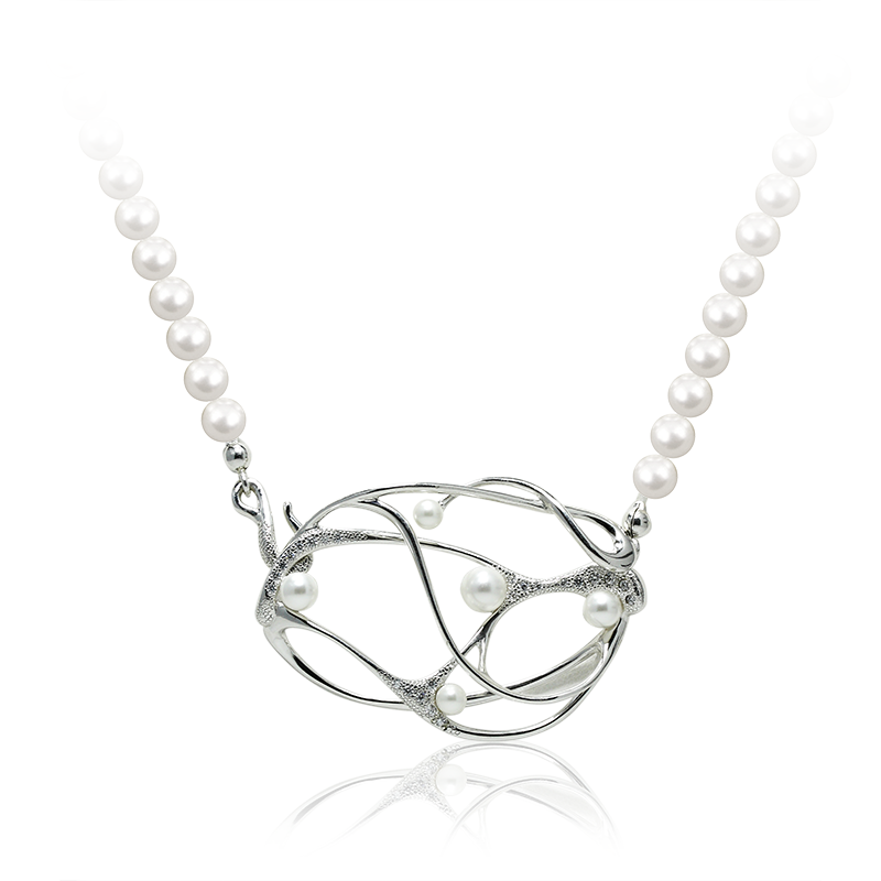 NecklaceSilver 925/000Rhodium platedSwarovski glass pearl