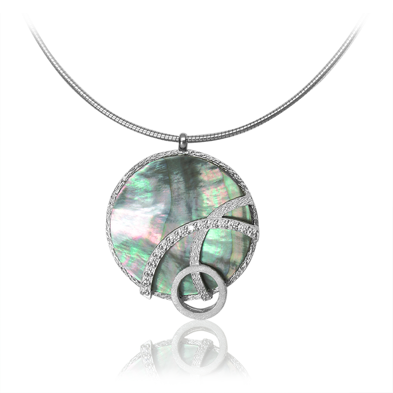 NecklaceSilver 925/000Rhodium platedMother of pearl, CZ
