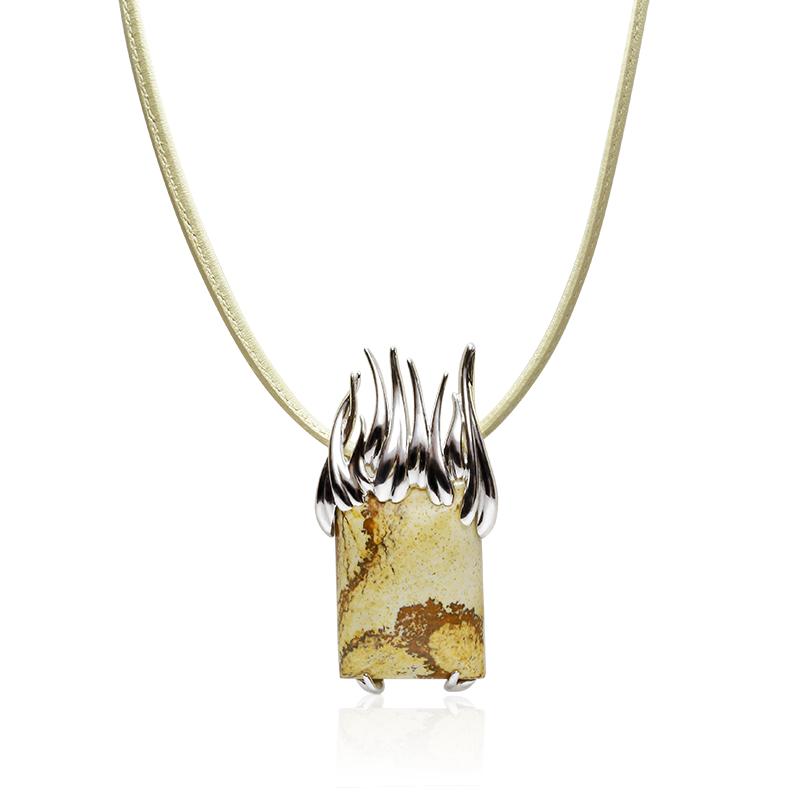 NecklaceSilver 925/000Rhodium platedKalahari jaspis