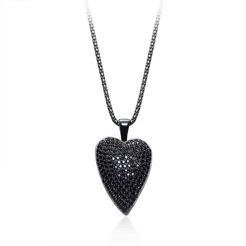 NecklaceSilver 925/000Black rhodium platedBlack spinel