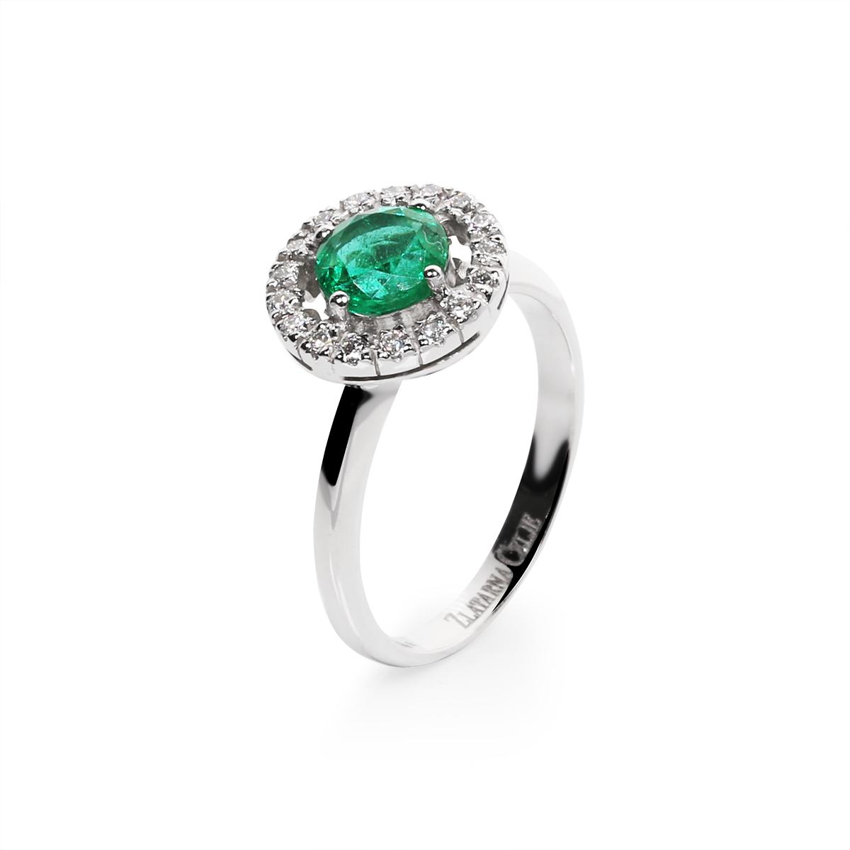 diamond 0,01 ct - 17 x; emerald fi 6 mm - 1 x