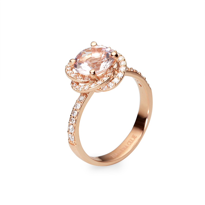 Morganite 8 mm -1 x;diamond 0,005 ct - 44 x; 0,01 ct - 8 x; 0,02 ct - 4 x