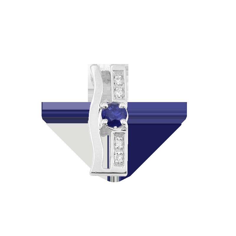 plavi safir ili rubin fi 3,5 mm -1x diamant 0,005 ct - 4x