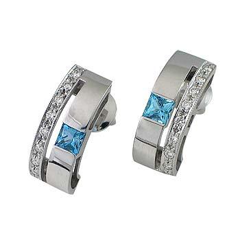 blue topaz 3,5x3,5 mm - 2x diamond 0,01 ct - 18x