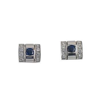 plavi safir fi 3 mm - 2x diamant 0,005 ct - 16x