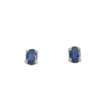 blue sapphire or ruby oval 6x4 mm -2x