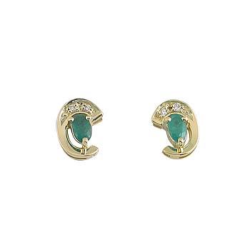 emerald oval 5x3mm - 2x diamond 0,01 ct - 4x