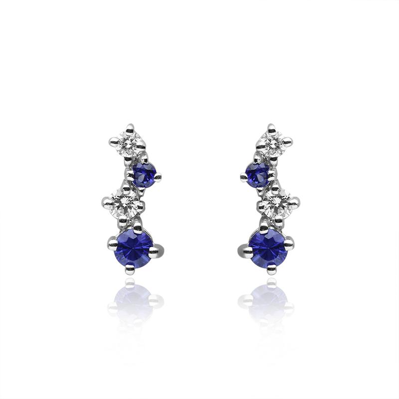 diamond 0,05 ct - 2x, 0,03 ct - 2x, blue sapphire 3 mm - 2x, 2 mm-2x