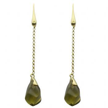 olive quartz 14,5 x 8,5 mm - 2x