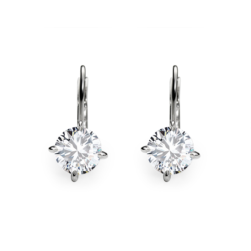 Earrings from the SOLITAIRE collection with two 1 ct. cut diamonds for which indicative prices from EUR 21,400 apply. For the exact price fill out the online form, since the price depends on the purity and colour of the cut diamond.