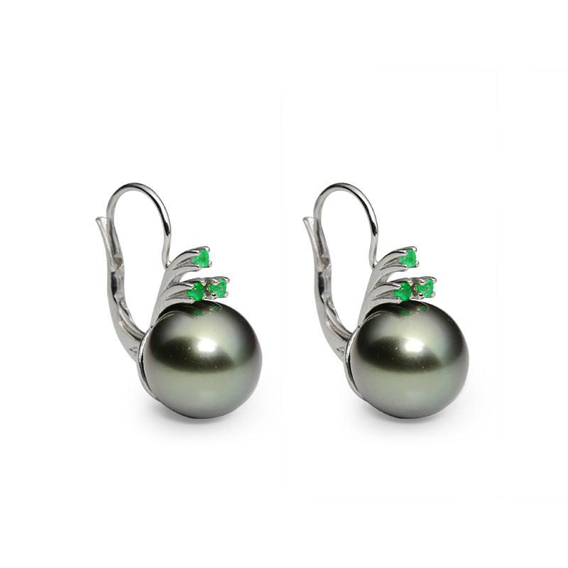 tahiti pearl 9,5-10,0 mm - 2x, emerald 1,5 mm - 6x