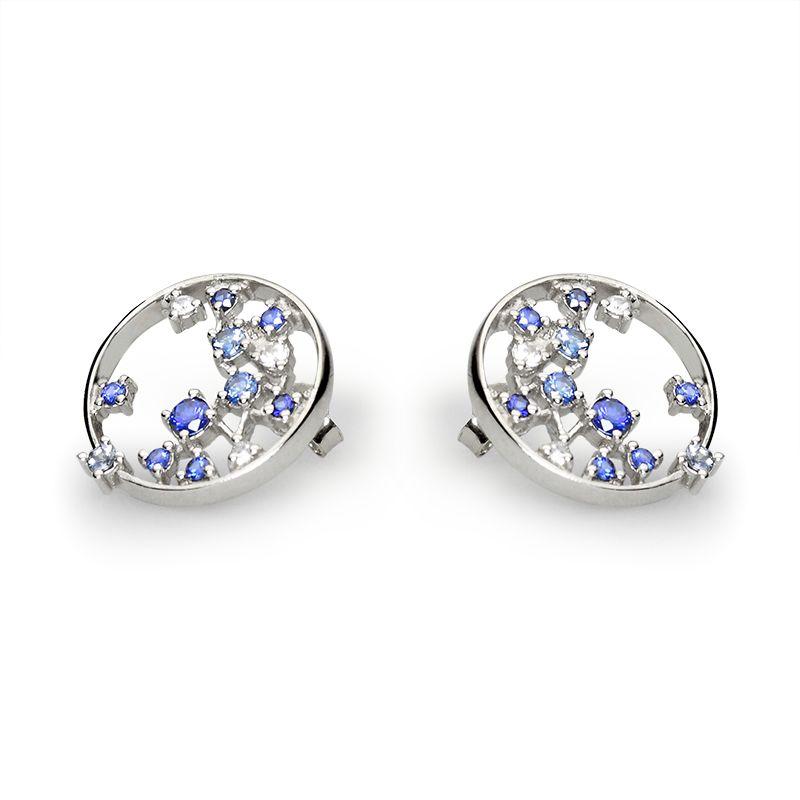 white sapphires fi 1,4 mm - 4x, fi 1,6 mm - 2x, blue sapphires fi 1,5 mm - 12x, fi 2,5 mm - 2x, fi 1,75 mm - 2x
