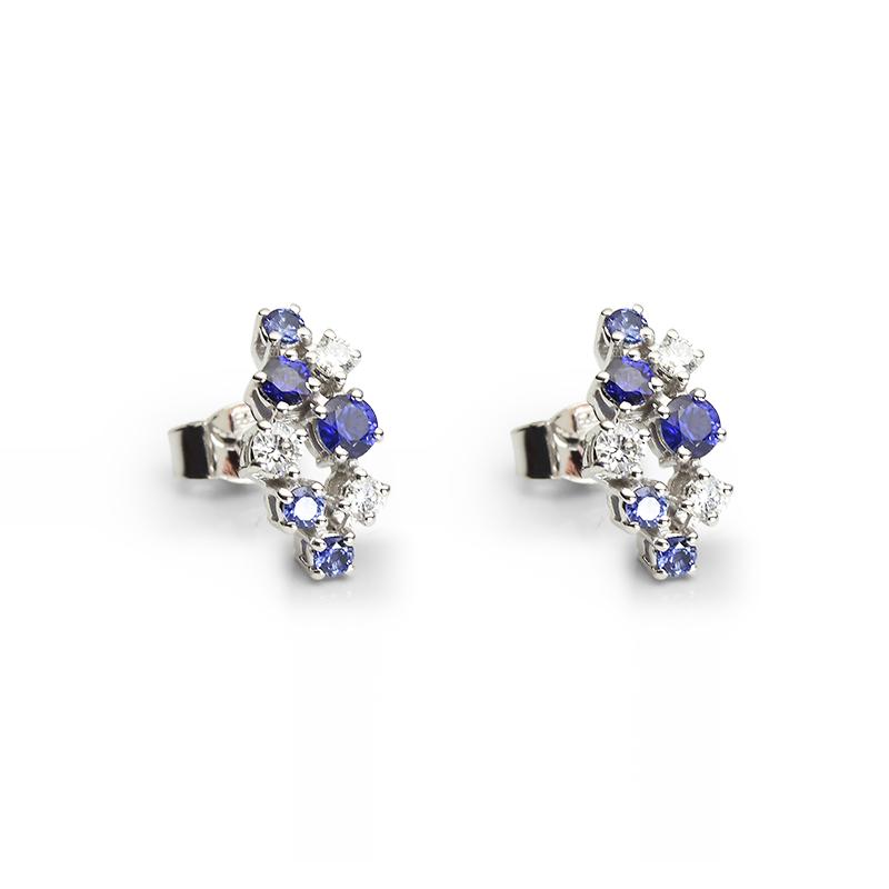 Diamond 0,05 ct - 2 x, 0,03 - 4 x, Blue Sapphire fi 3 mm - 2 x, fi 2.5 mm - 2 x, fi 2 mm - 6 x