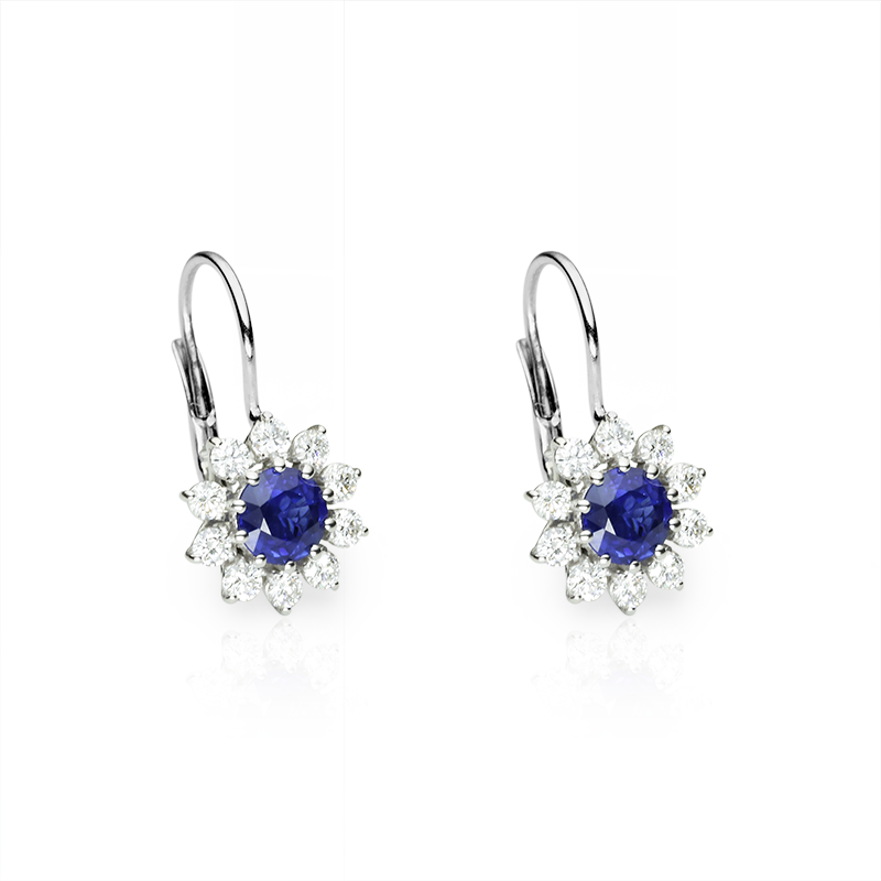 Plavi safir fi 5 mm - 2 x; diamant 0,03 ct - 20 x