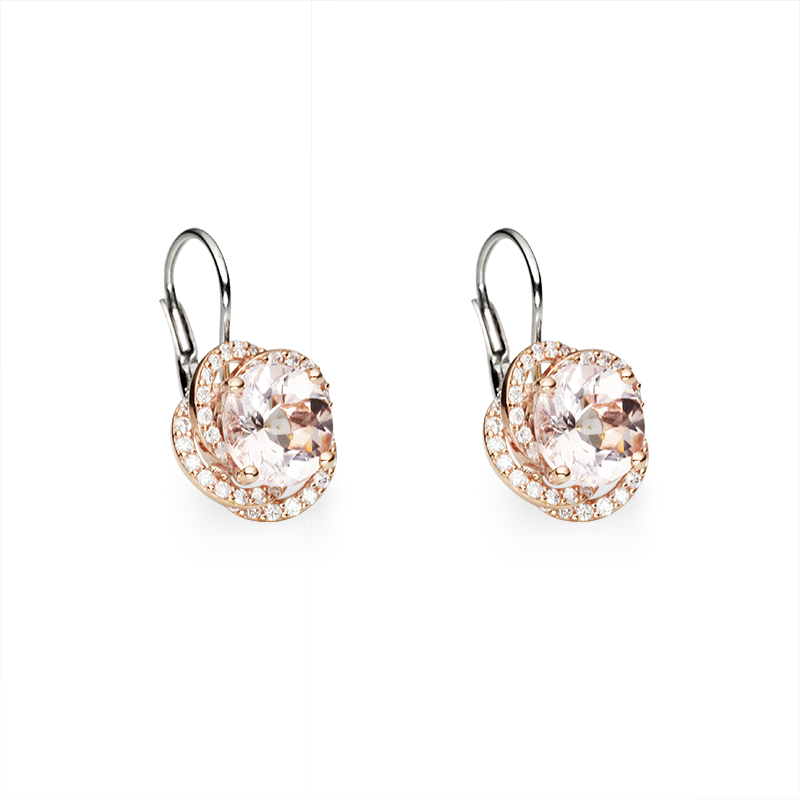 Morganite fi 8 mm - 2 x;diamond 0,005 ct - 88 x