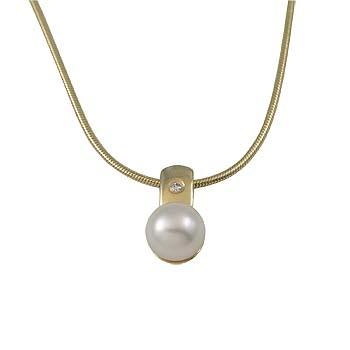 diamond 0,01 ct - 1x, white fresh water pearl 6 mm - 1x