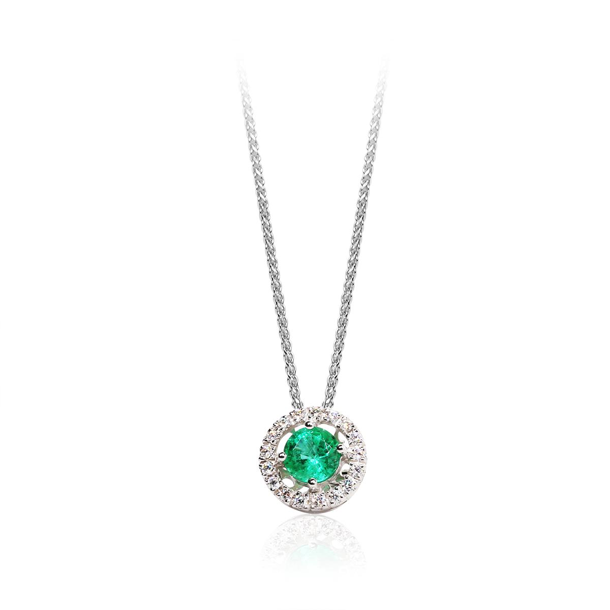 emeraldfi 6 mm - 1 x;diamond 0,01 ct - 17 x