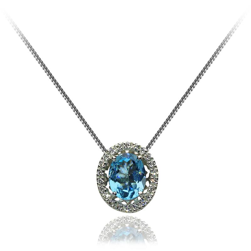 blue topaz 10 x 8 mm - 1 x; diamond 0,01 ct - 22 x