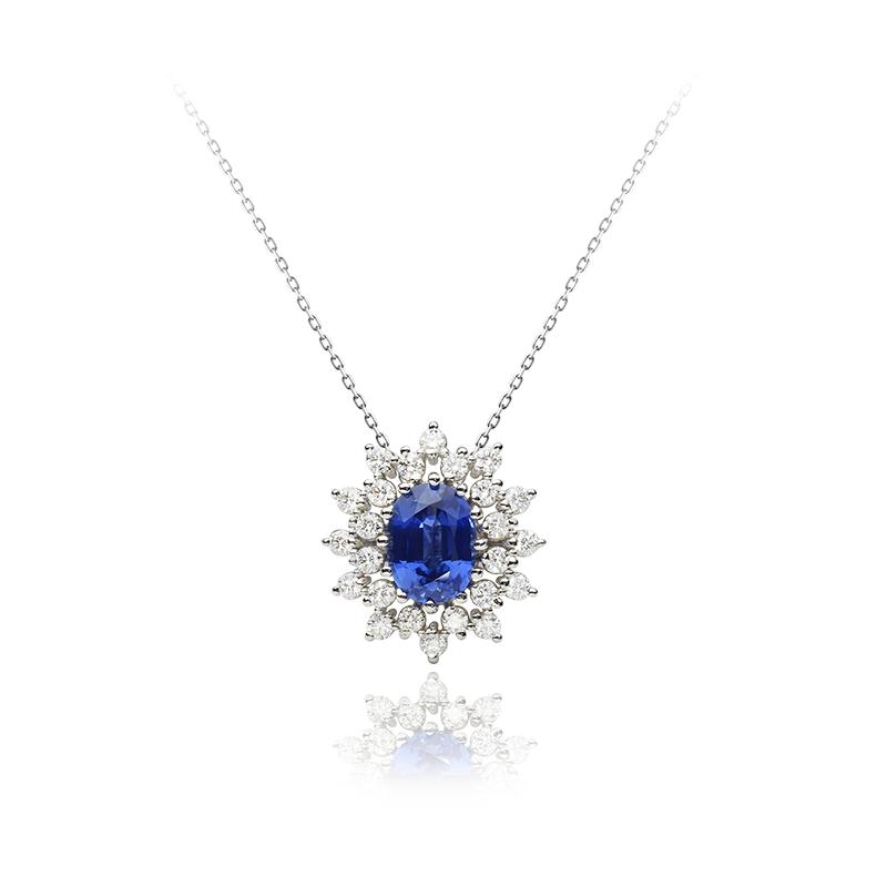 Diamond 0,02 ct - 24 x, blue Sapphire 8 x 6 - 1 x