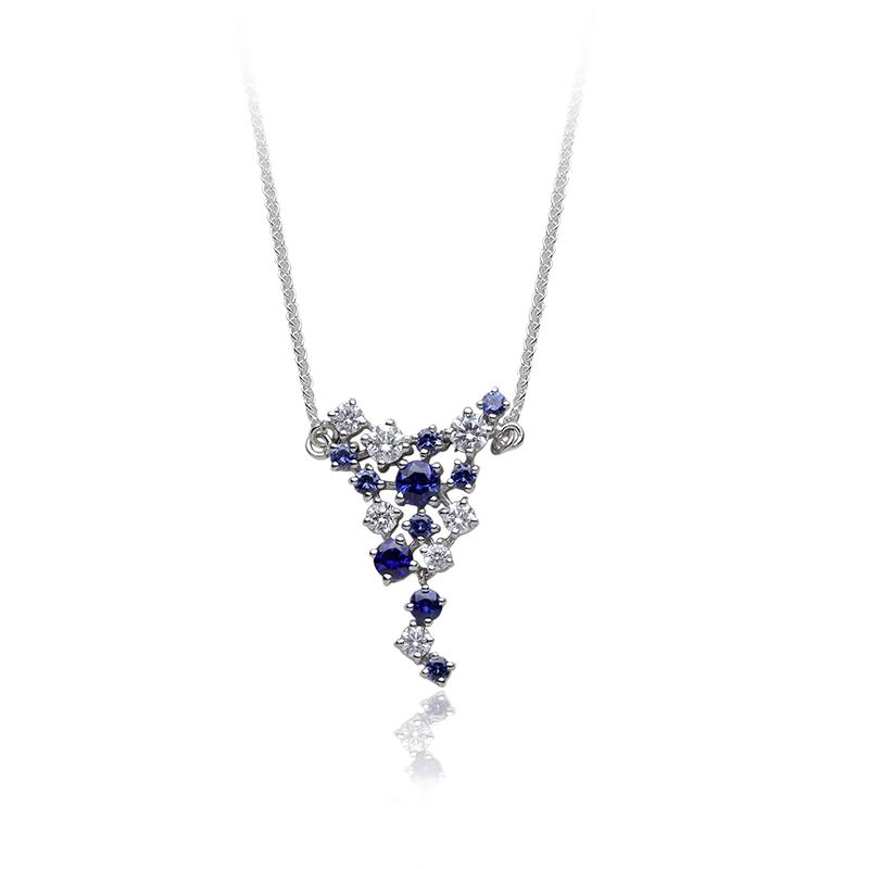 Diamond 0,10 ct - 2 x; 0,05 ct - 4 x; 0,03 ct - 1 x; Blue sapphire fi 3,50 mm - 1 x; fi 2,50 mm - 1 x
