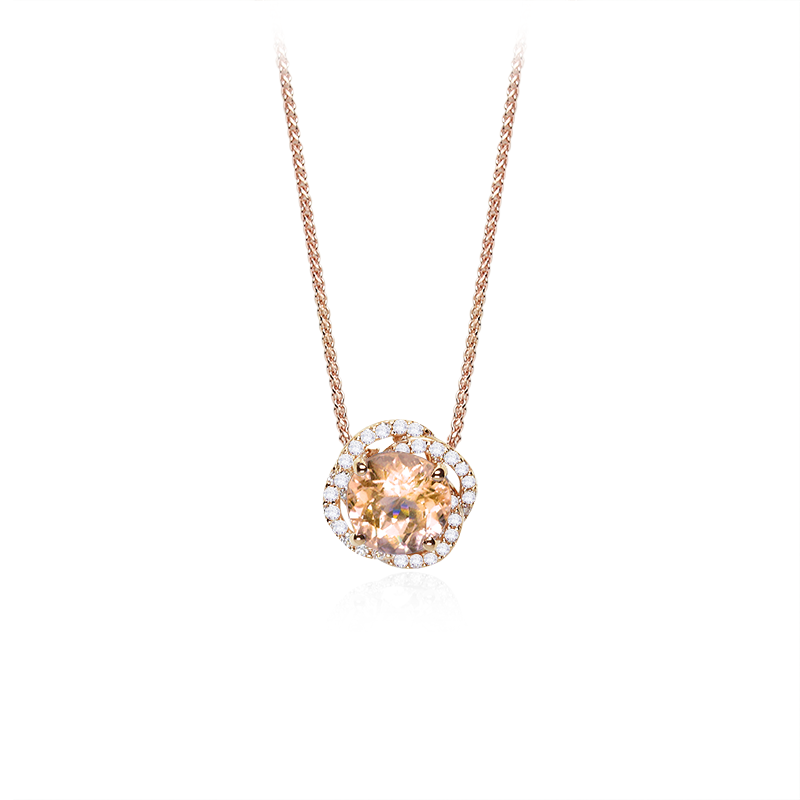 Morganite fi 8 mm - 1 x;diamond 0,005 ct - 44 x